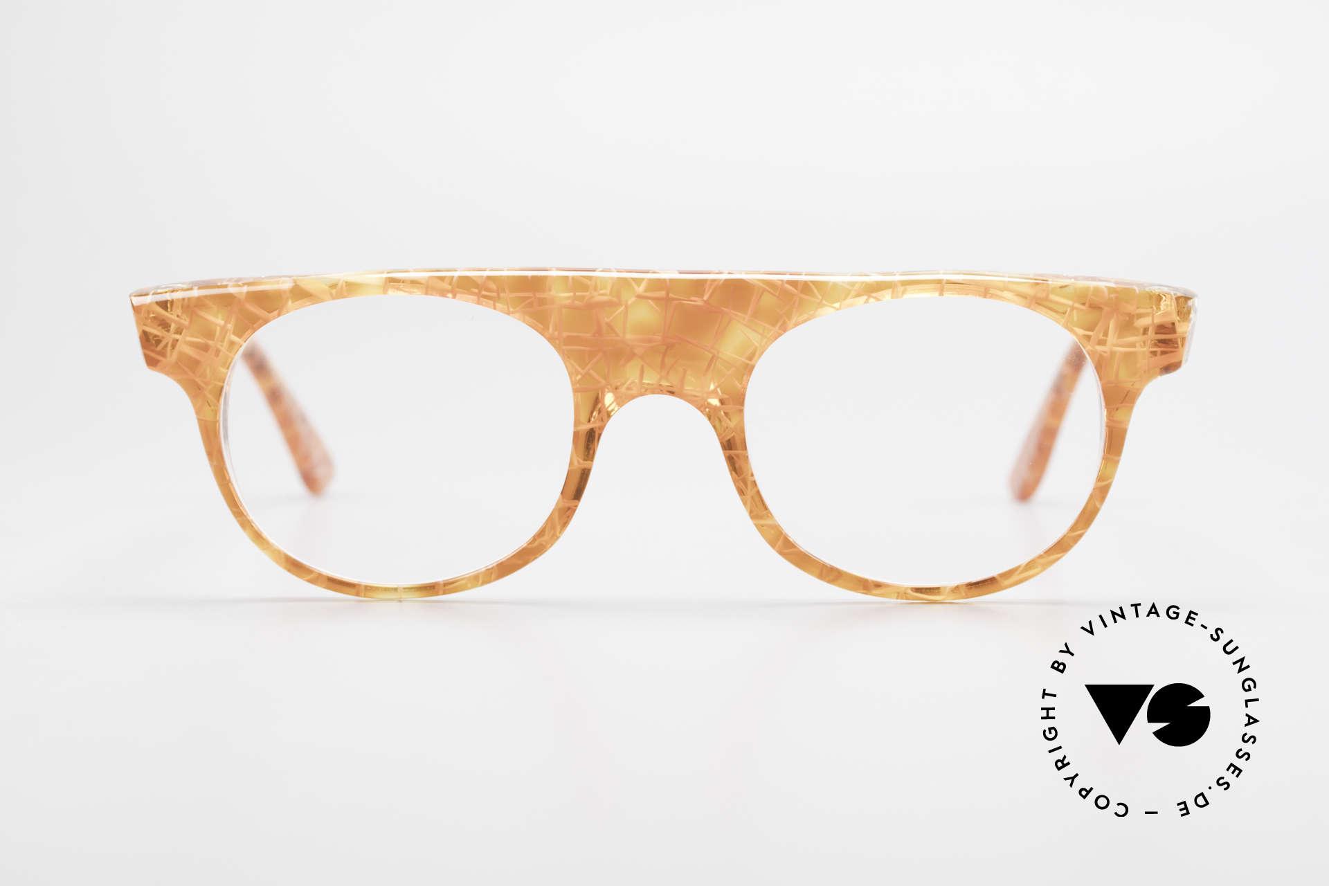 Alain Mikli 0127 / 166 80's Designer Eyeglass-Frame, spunky frame pattern in ORANGE-translucent-crystal, Made for Women