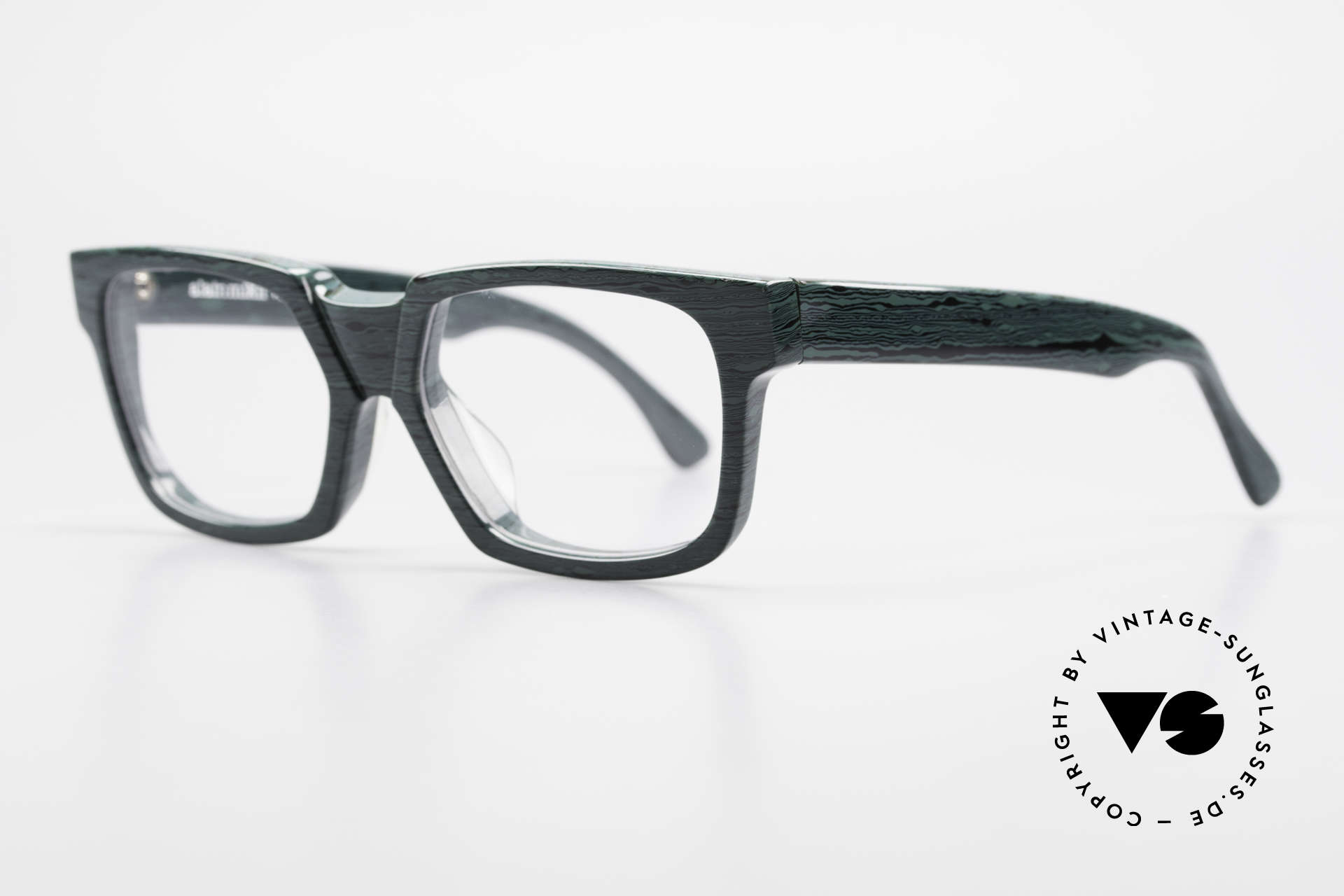 Alain Mikli 0143 / 285 Striking 1980's Eyeglasses, green-black marbled, top-notch quality, handmade!, Made for Men and Women