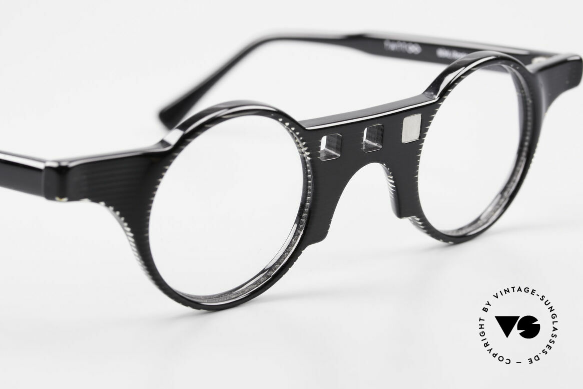 Tattoo Karfunkel 2 Fancy Vintage Eyeglasses, 1x crystal with a blue stone & 1x black with silver, Made for Women