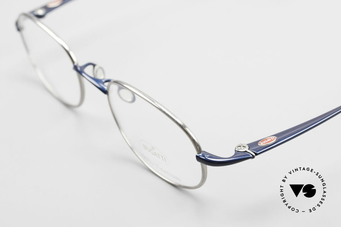 Bugatti 19062 Men's Titanium Eyeglasses 90's, brillant frame finish in dark navy-blue / titanium, Made for Men