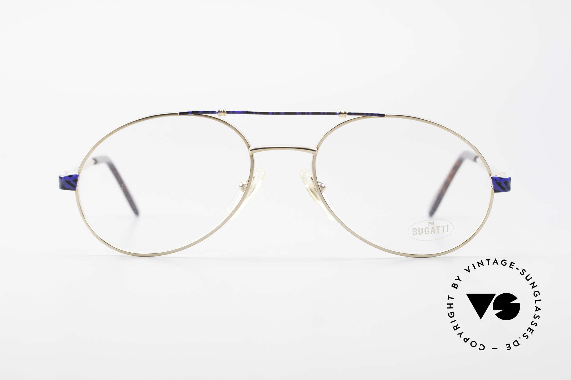 Bugatti 14818 Gold Plated Luxury Eyeglasses, legendary 'tear drop' design by Bugatti of the 80s, Made for Men
