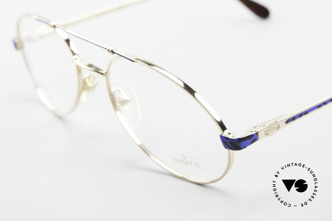 Bugatti 14818 Gold Plated Luxury Eyeglasses, very noble frame finish: blue-black / GOLD-plated, Made for Men