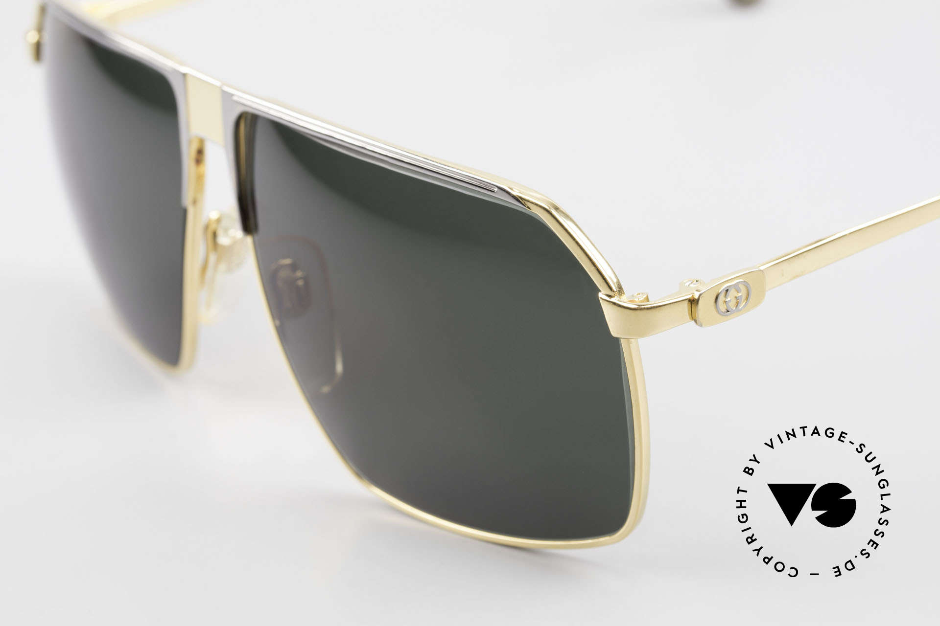 Gucci GG41 22kt Gold-Plated Sunglasses, with the famous Gucci symbol (2 connected stirrups), Made for Men