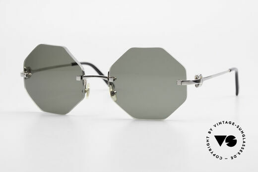 Cartier Rimless Octag Octagonal Luxury Sunglasses Details