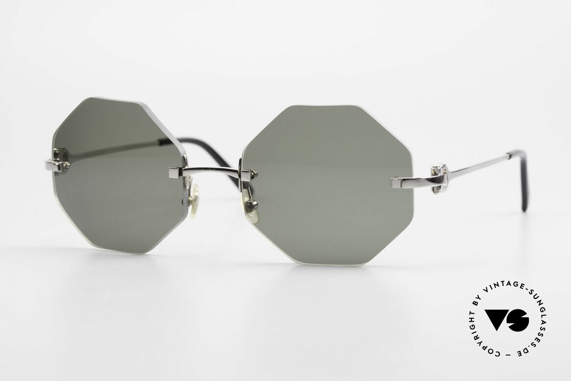 Cartier Rimless Octag Octagonal Luxury Sunglasses, octagonal rimless CARTIER luxury shades from '99, Made for Men and Women