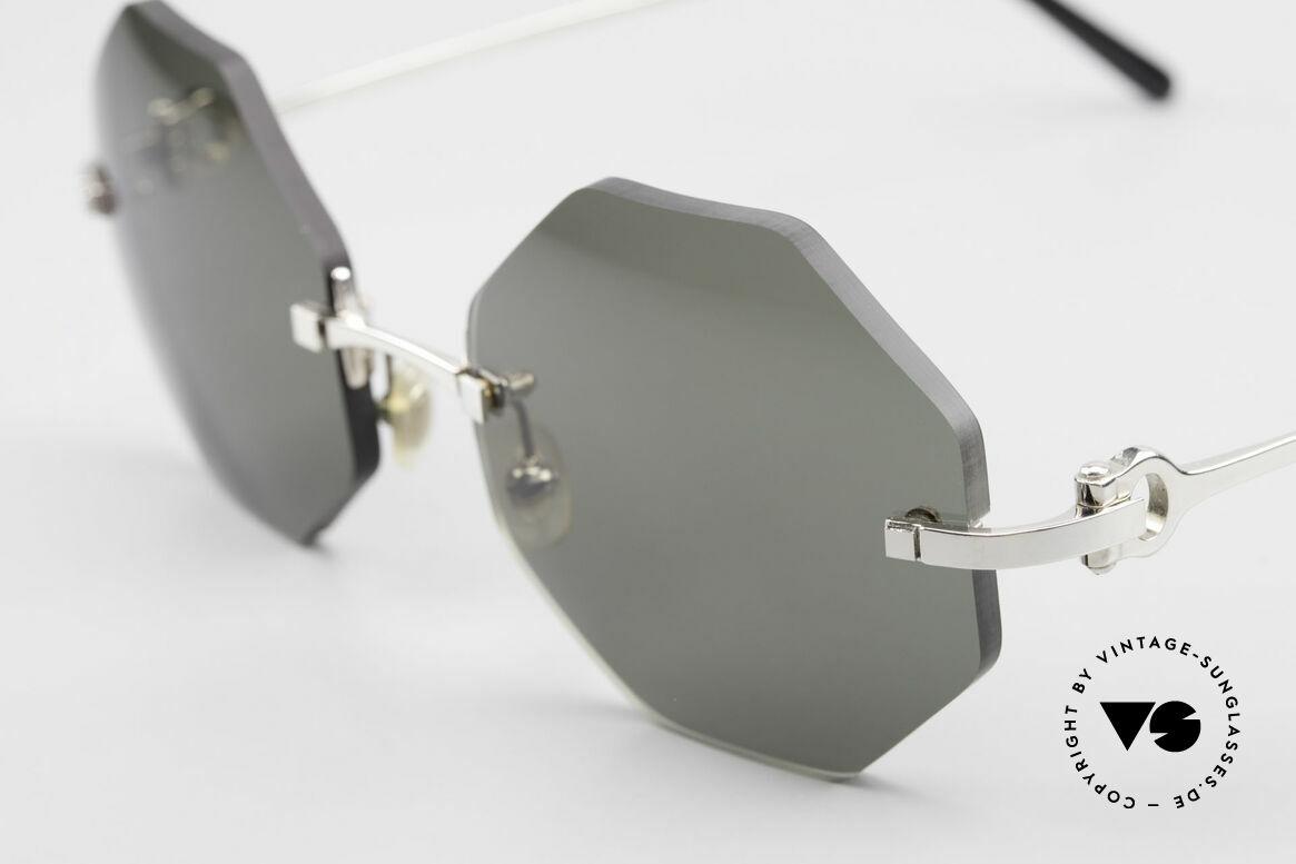 Cartier Rimless Octag Octagonal Luxury Sunglasses, precious OCTAG designer shades; Platinum-PLATED, Made for Men and Women