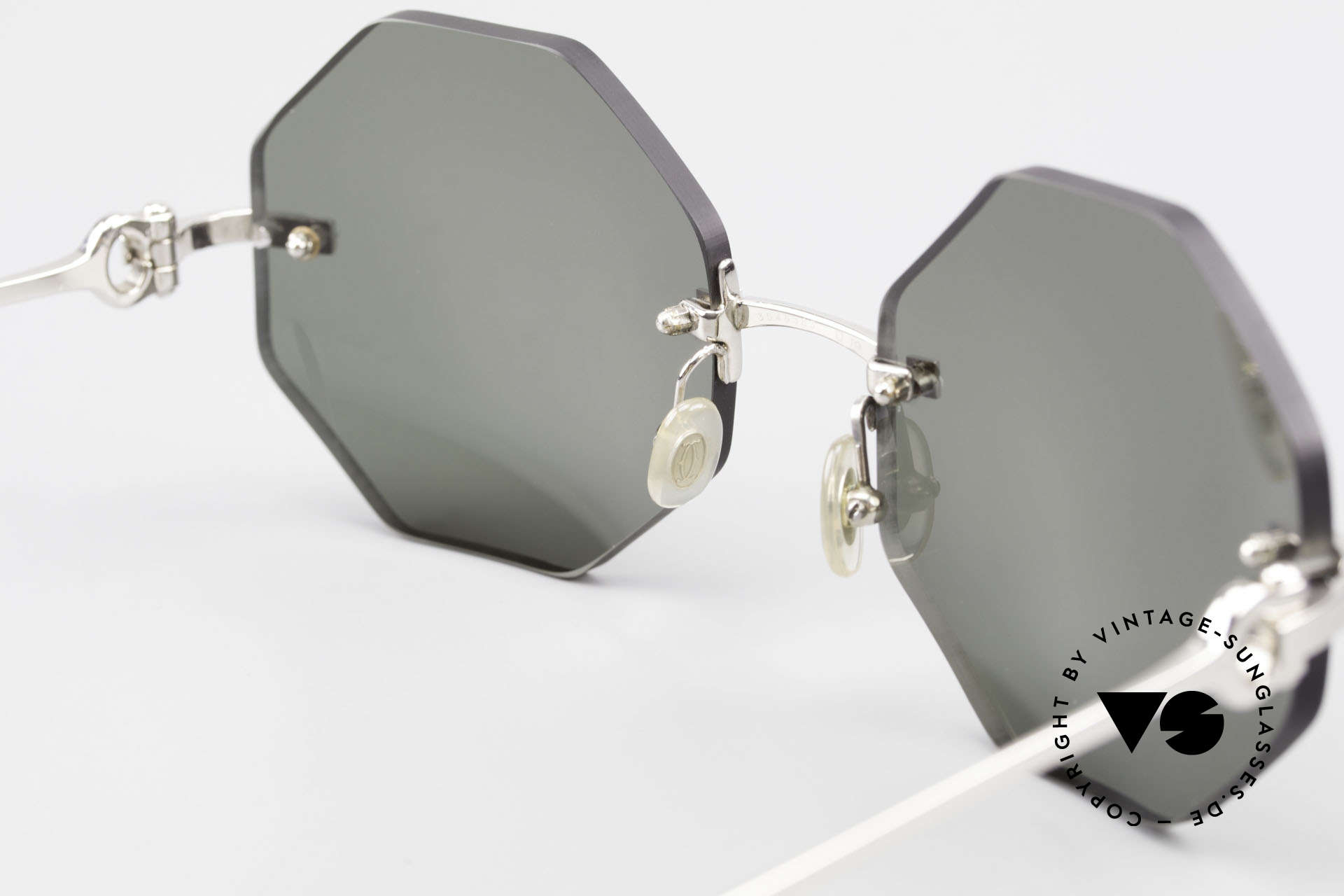 Cartier Rimless Octag Octagonal Luxury Sunglasses, with new CR39 UV400 lenses in gray-green G15 color, Made for Men and Women