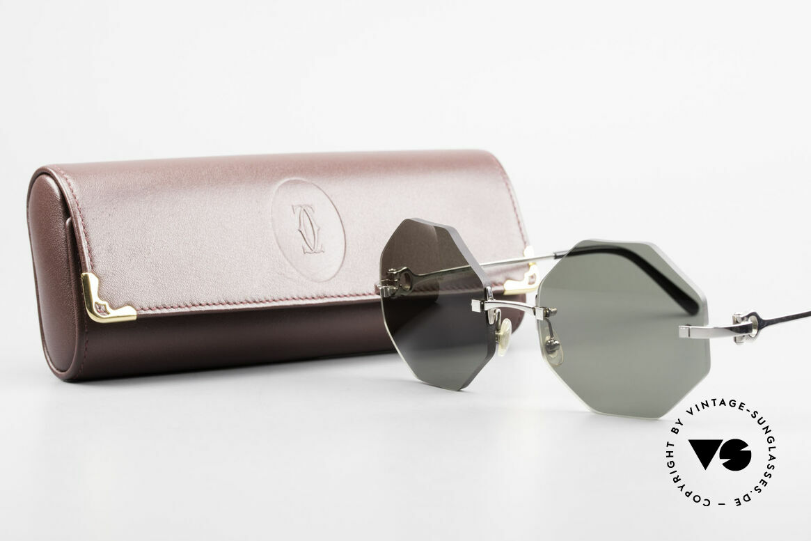 Cartier Rimless Octag Octagonal Luxury Sunglasses, NO RETRO, but a RARE old ORIGINAL, one of a kind!, Made for Men and Women