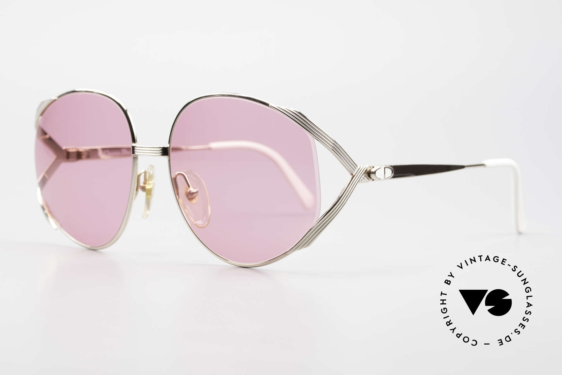 Christian Dior 2387 Ladies Pink 80's Sunglasses, gold-plated metal frame + beige/white accents, Made for Women