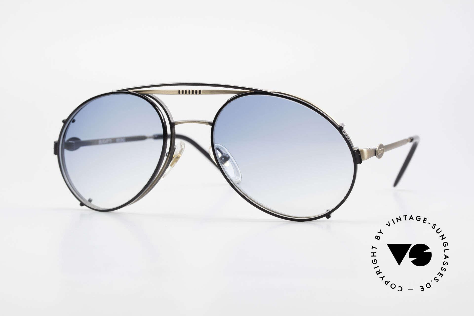 Bugatti 65282 Vintage Frame With Sun Clip, rare VINTAGE Bugatti 80's luxury sunglasses, Made for Men