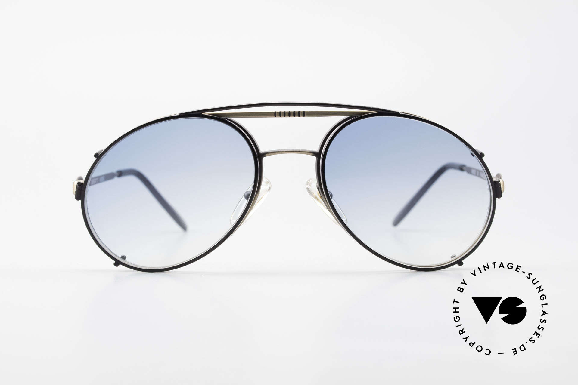 Bugatti 65282 Vintage Frame With Sun Clip, legendary vintage BUGATTI 'tear drop' design, Made for Men