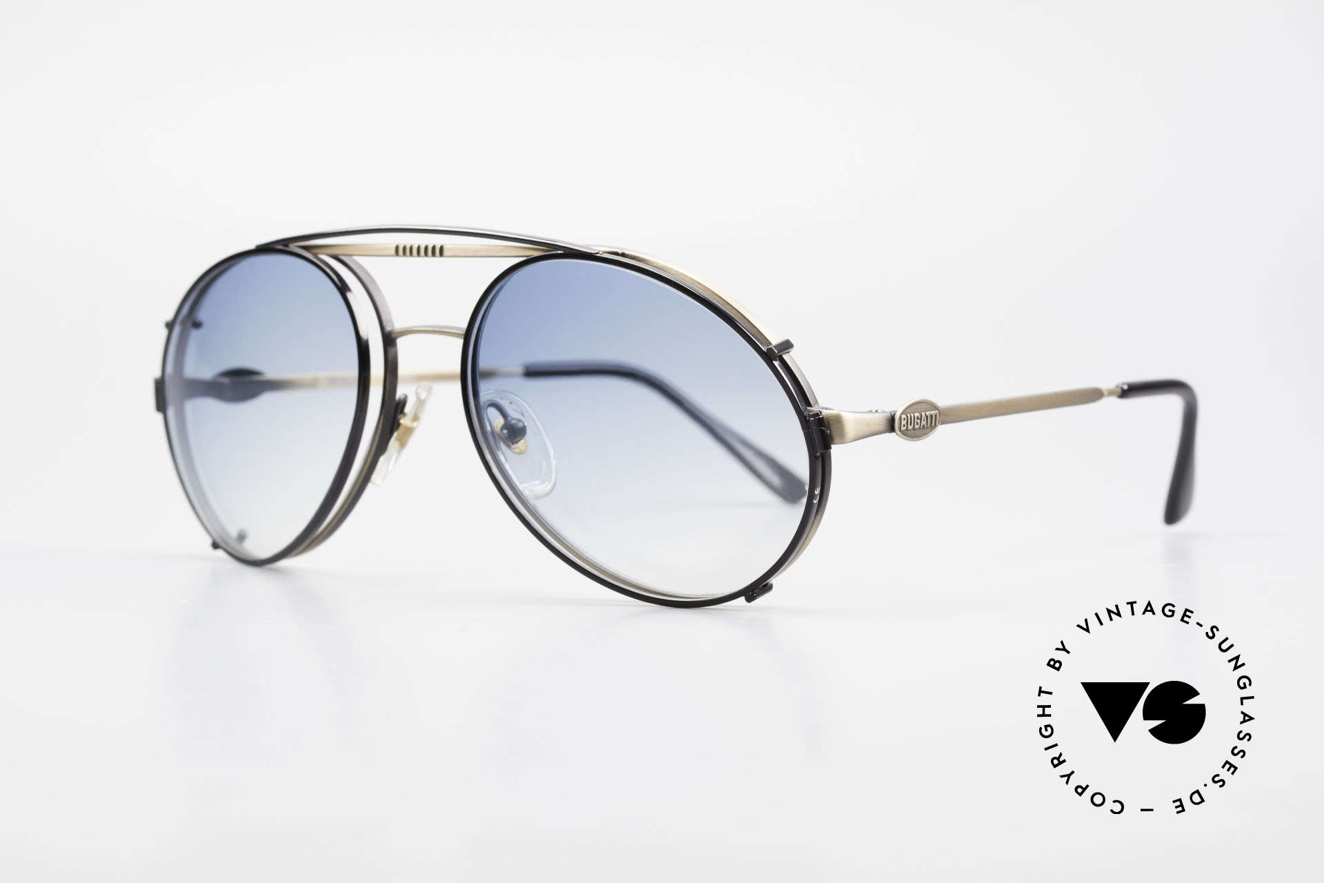 Bugatti 65282 Vintage Frame With Sun Clip, eyeglass-frame with practical clip; size 54mm, Made for Men