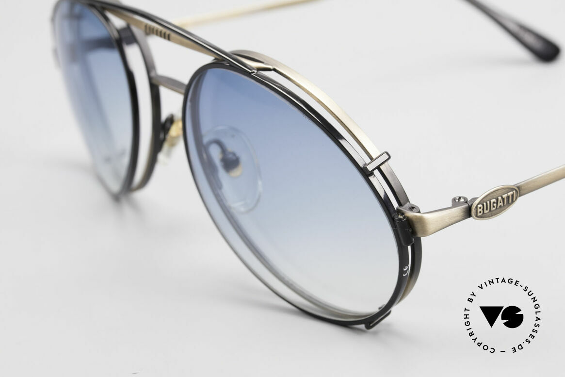 Bugatti 65282 Vintage Frame With Sun Clip, remarkable finish (anthracite / antique metal), Made for Men