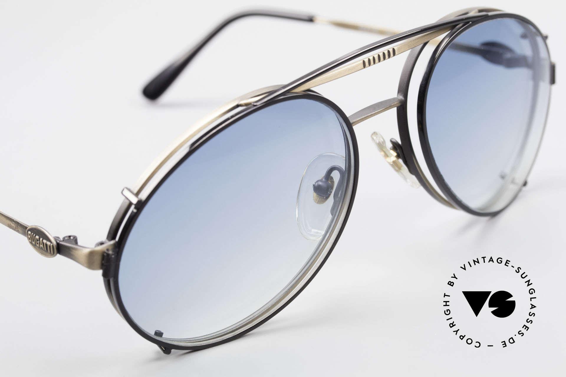 Bugatti 65282 Vintage Frame With Sun Clip, BLACK sun clip with BLUE-gradient sun lenses, Made for Men