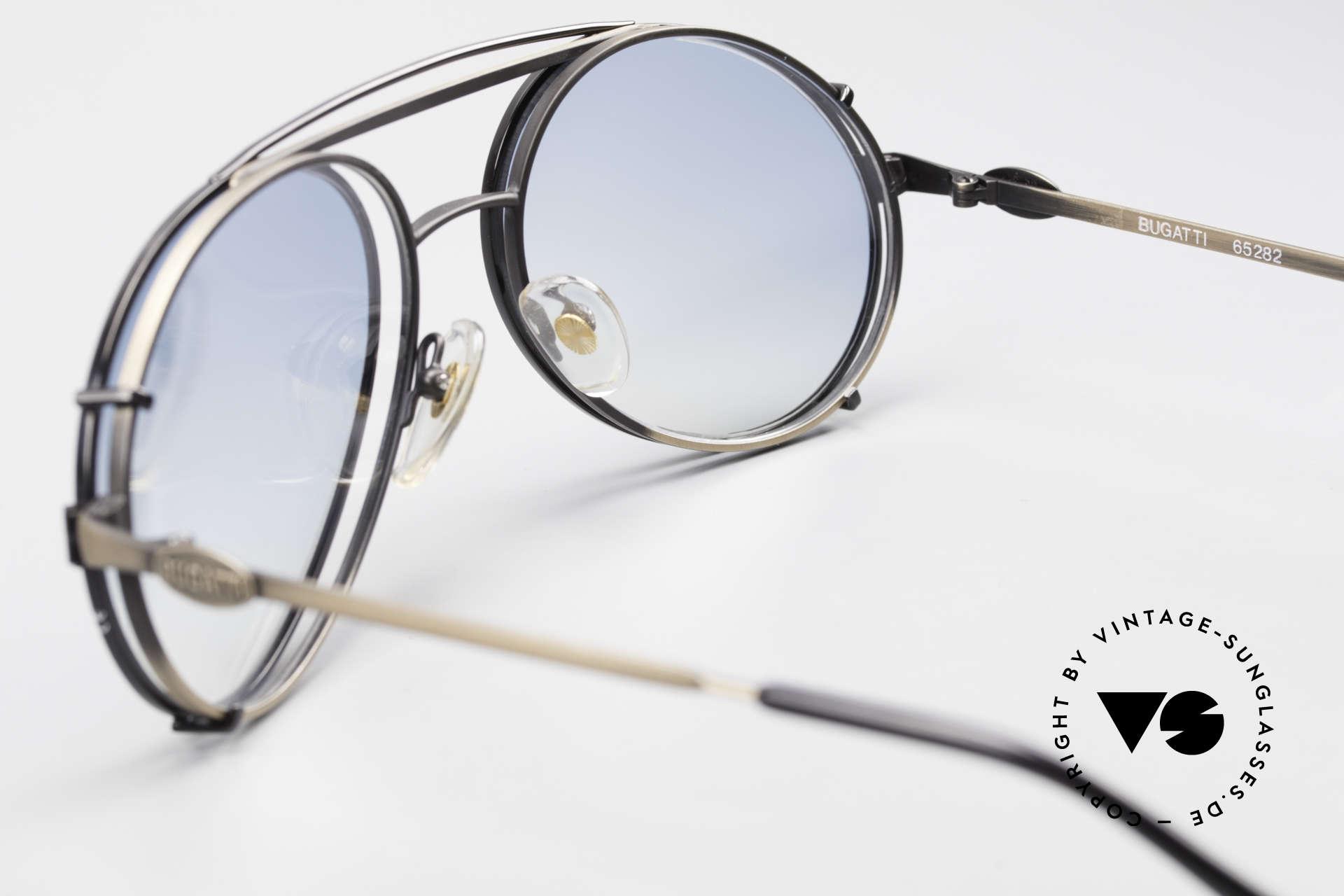 Bugatti 65282 Vintage Frame With Sun Clip, unworn; like all our vintage Bugatti sunglasses, Made for Men