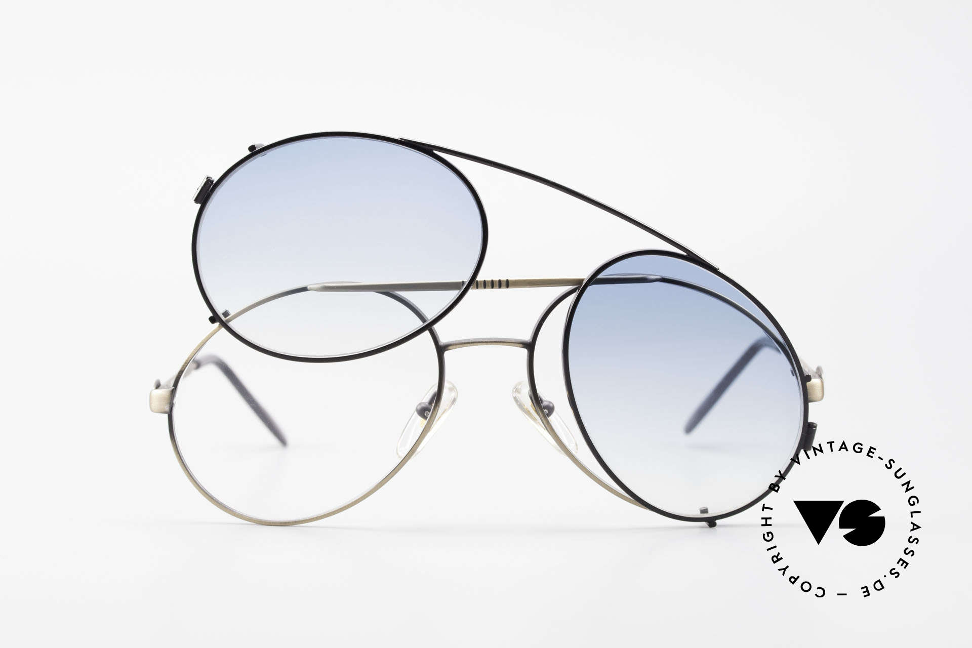 Bugatti 65282 Vintage Frame With Sun Clip, NO RETRO sunglasses; an ORIGINAL from 1986, Made for Men
