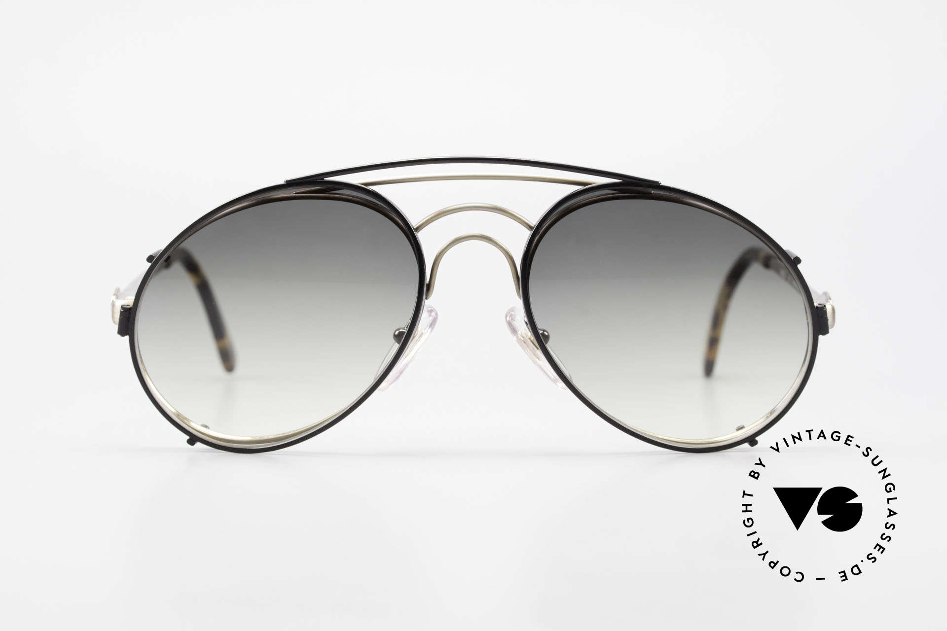 Bugatti 07823 Old 80's Glasses With Sun Clip, distinctive Bugatti 'tear drop' shape; in 52mm size, Made for Men