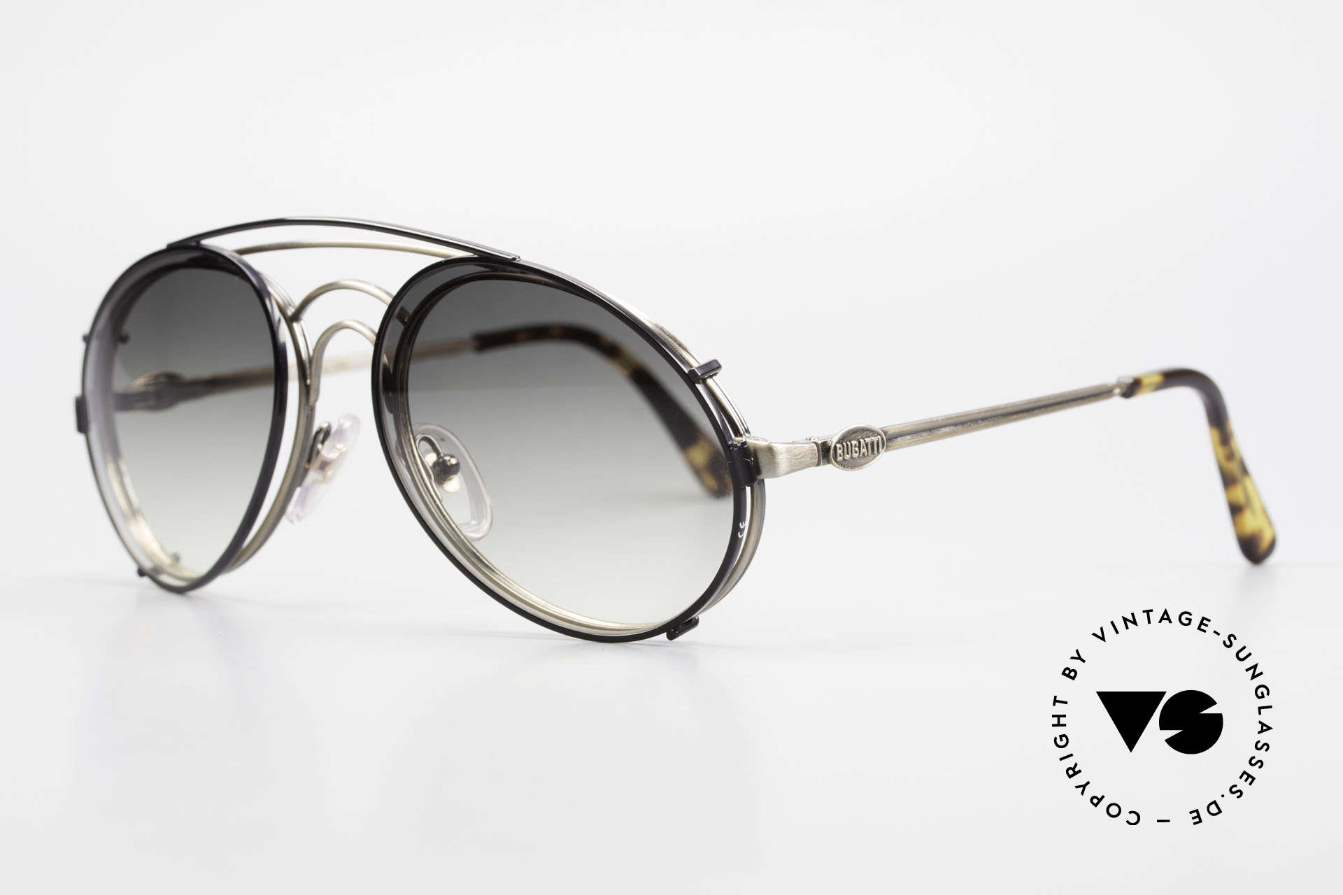 Bugatti 07823 Old 80's Glasses With Sun Clip, with flexible spring hinges (1. class wearing comfort), Made for Men