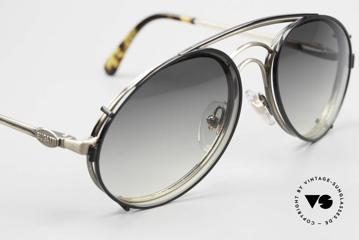 Bugatti 07823 Old 80's Glasses With Sun Clip, unworn (like all our vintage Bugatti designer shades), Made for Men