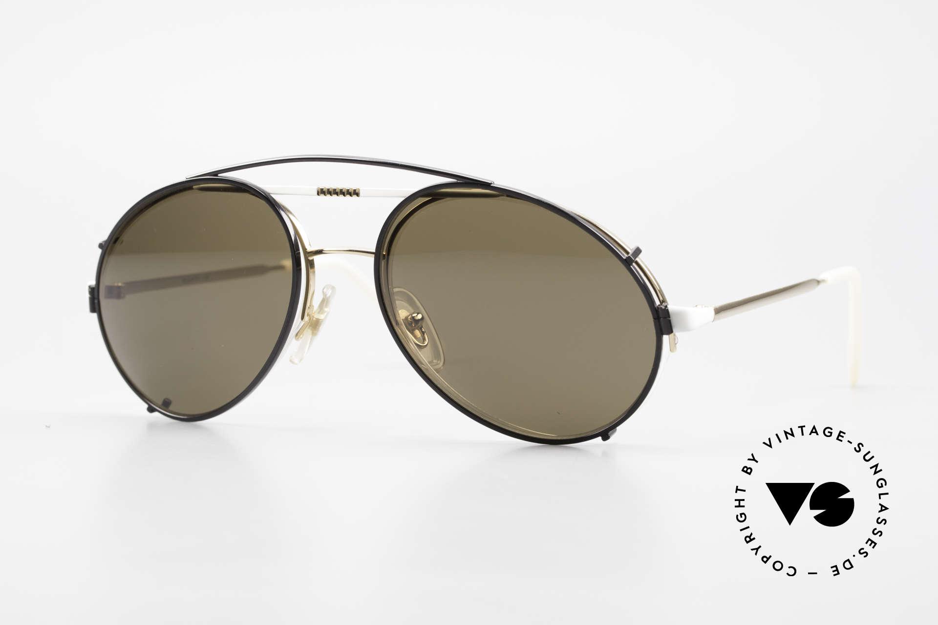 Bugatti 65787 Semi Rimless Frame With Clip, very elegant Bugatti vintage sunglasses for men, Made for Men