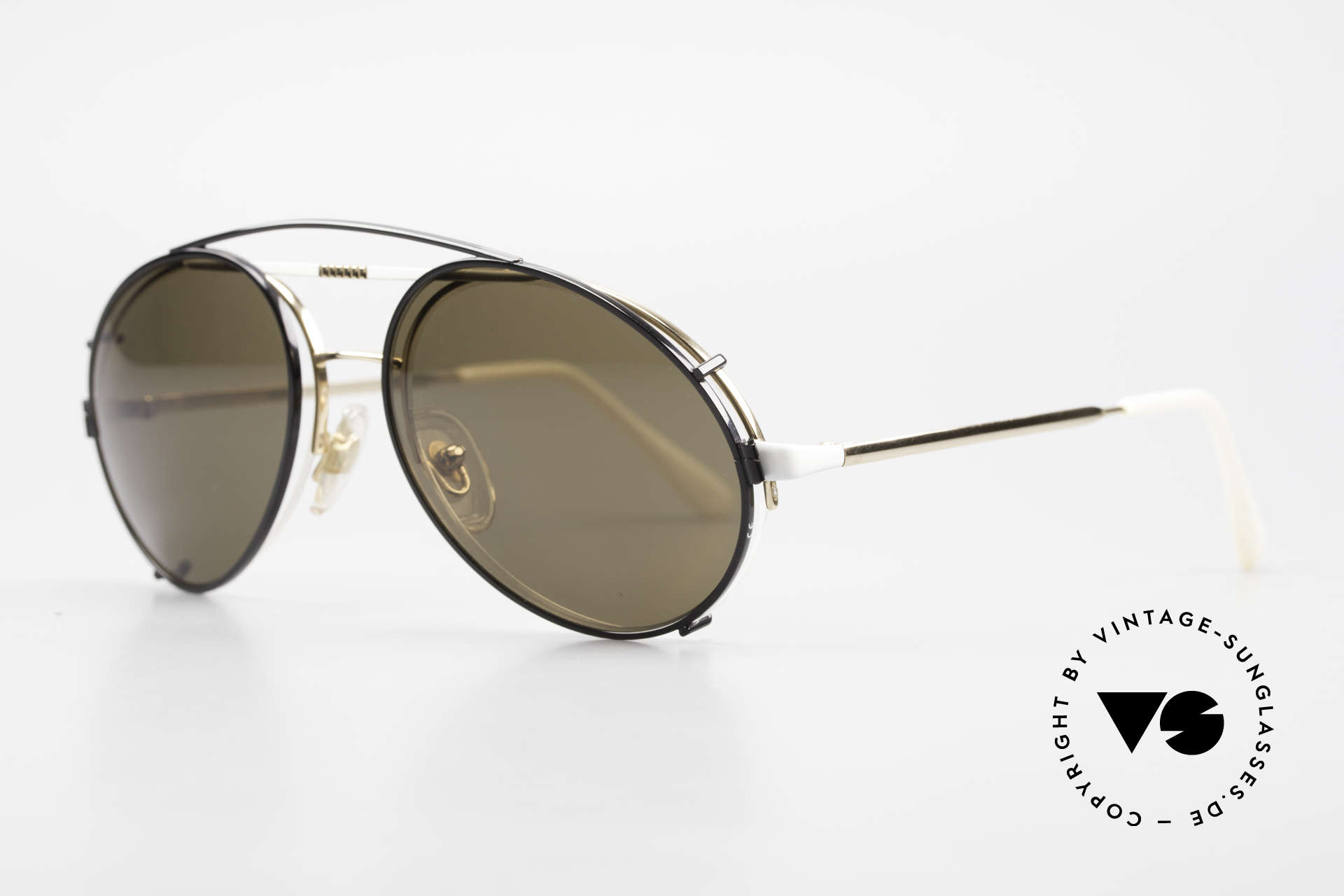 Bugatti 65787 Semi Rimless Frame With Clip, white & gold frame with black clip-on (100% UV), Made for Men