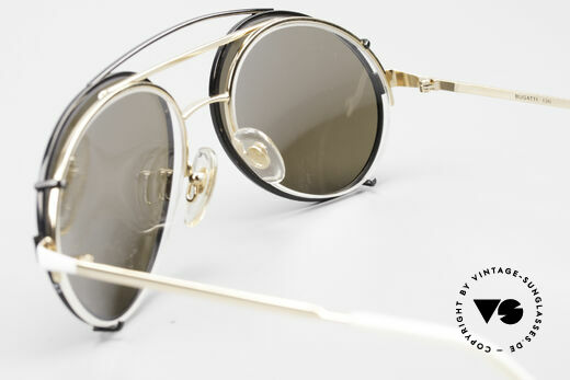 Bugatti 65787 Semi Rimless Frame With Clip, Original; directly from the 80's; NO RETRO shades, Made for Men