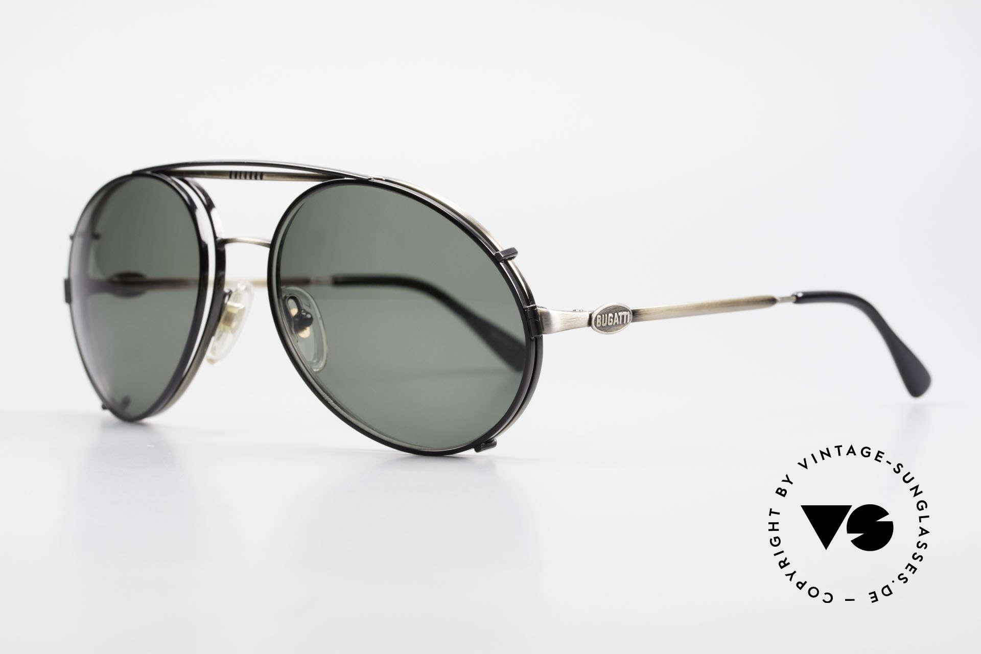 Bugatti 65282 Vintage Men's Glasses 1980's, eyeglass-frame with practical clip; size 56mm, Made for Men