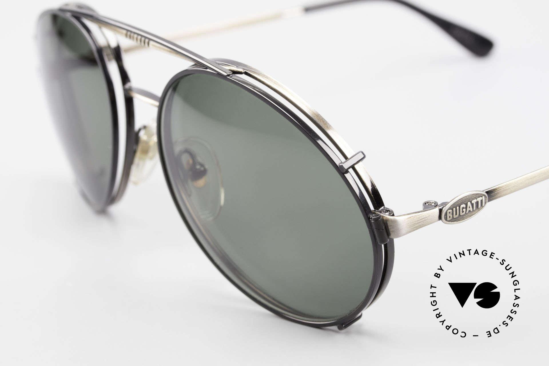 Bugatti 65282 Vintage Men's Glasses 1980's, remarkable finish (anthracite / antique metal), Made for Men