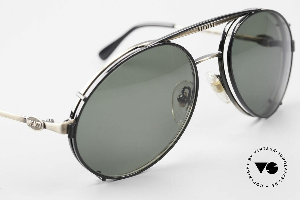 Bugatti 65282 Vintage Men's Glasses 1980's, BLACK sun clip with green sun lenses; 100% UV, Made for Men