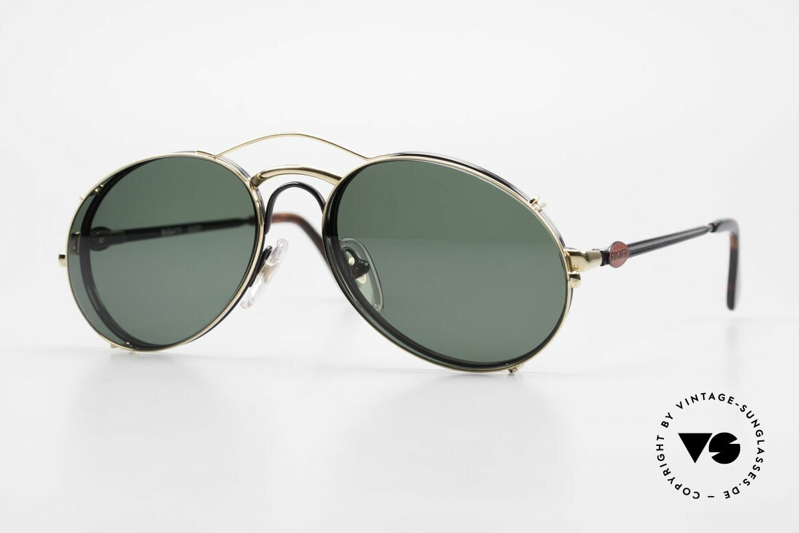 Bugatti 03327 Men's 80's Eyeglasses Clip On, classic vintage Bugatti sunglasses from approx. 1989, Made for Men