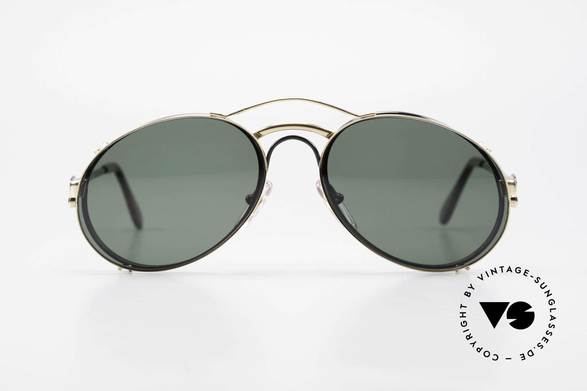 Bugatti 03327 Men's 80's Eyeglasses Clip On, distinctive Bugatti 'tear drop' shape; in 50mm size, Made for Men