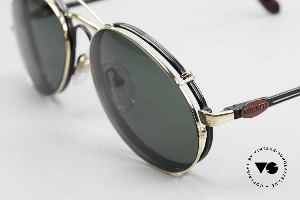 Bugatti 03327 Men's 80's Eyeglasses Clip On, very noble: black frame, red Bugatti logo, golden clip, Made for Men