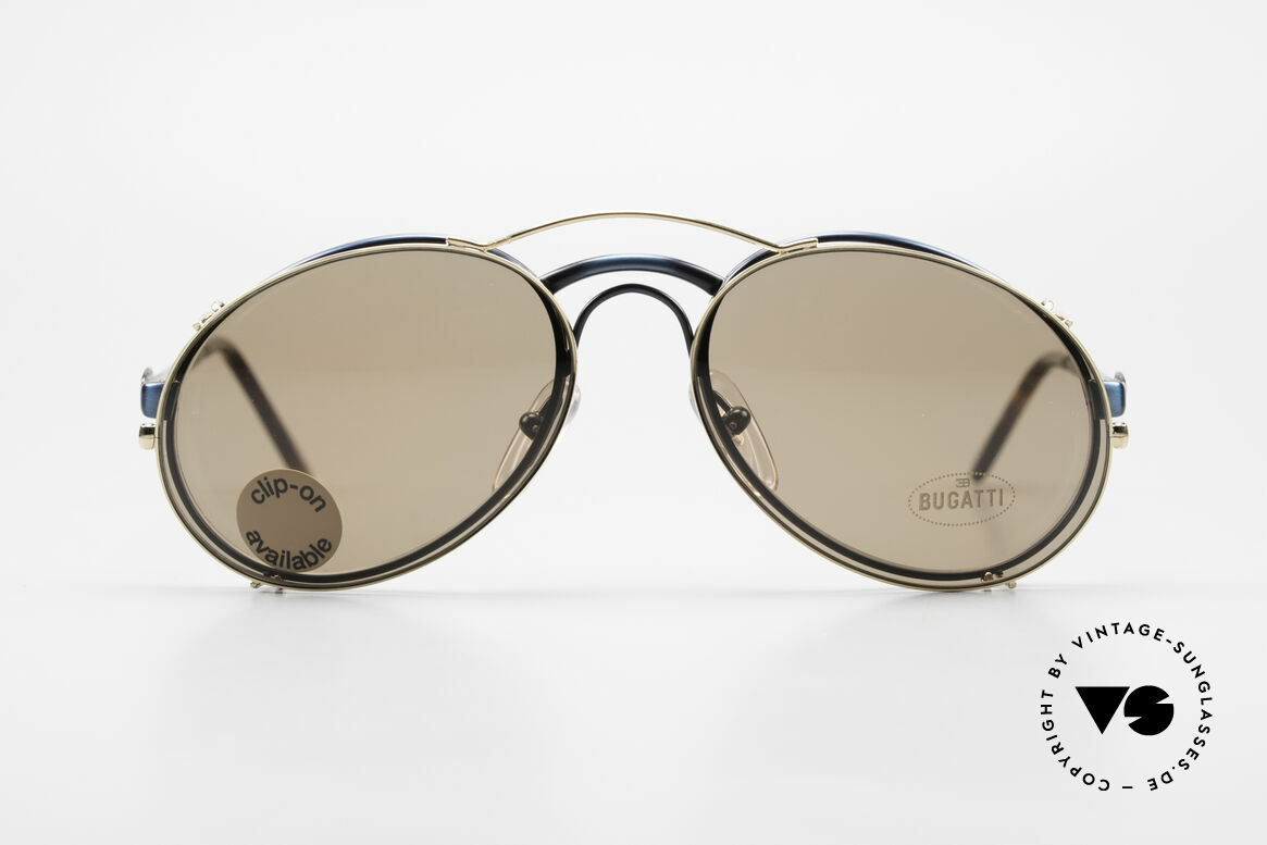Bugatti 03328 Men's 80's Clip On Sunglasses, distinctive BUGATTI 'tear drop' shape; in 50mm size, Made for Men