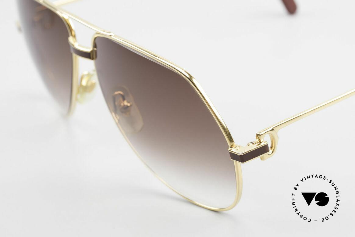 Cartier Vendome Laque - L Luxury Aviator Sunglasses, with classic brown-gradient sun lenses (100% UV prot.), Made for Men