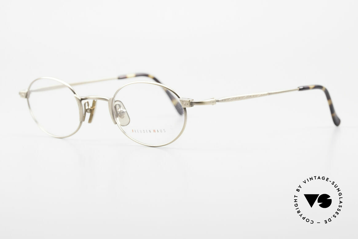 Freudenhaus Zaki Oval Titan Vintage Glasses, 100% TITANIUM frame and accordingly lightweight, Made for Men and Women