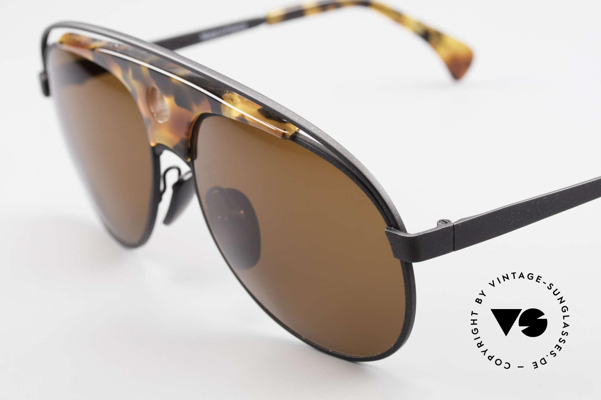 Alain Mikli 633 / 0013 Lenny Kravitz Sunglasses 80's, top craftsmanship (black frame with tortoise appliqué), Made for Men