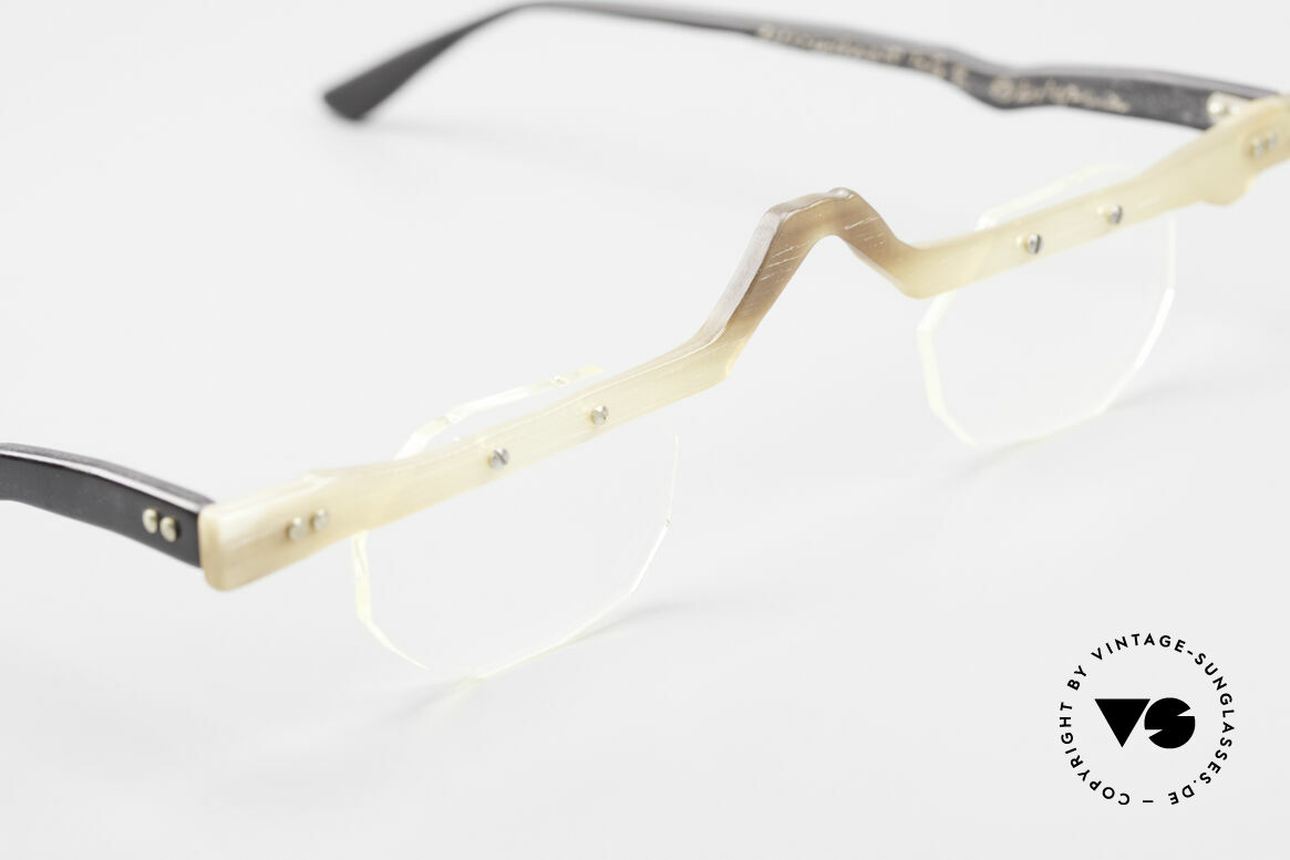 Theo Belgium Eye-Witness ACR Avant-Garde Reading Horn Frame, these specs were apparently unfinished & asymmetrical, Made for Men and Women