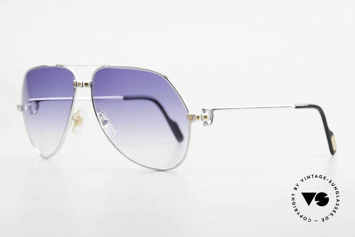Cartier Vendome Santos - L Customized Silver Edition, rhodanized (silvered) frame with golden Santos screws, Made for Men