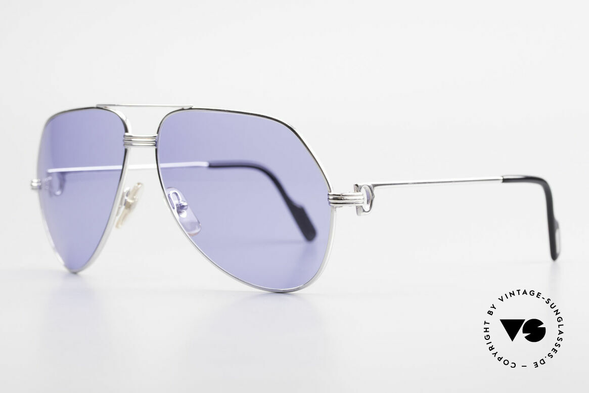Cartier Vendome LC - L Customized One Of A Kind, fully rhodanized (silvered) frame with blue sun lenses, Made for Men