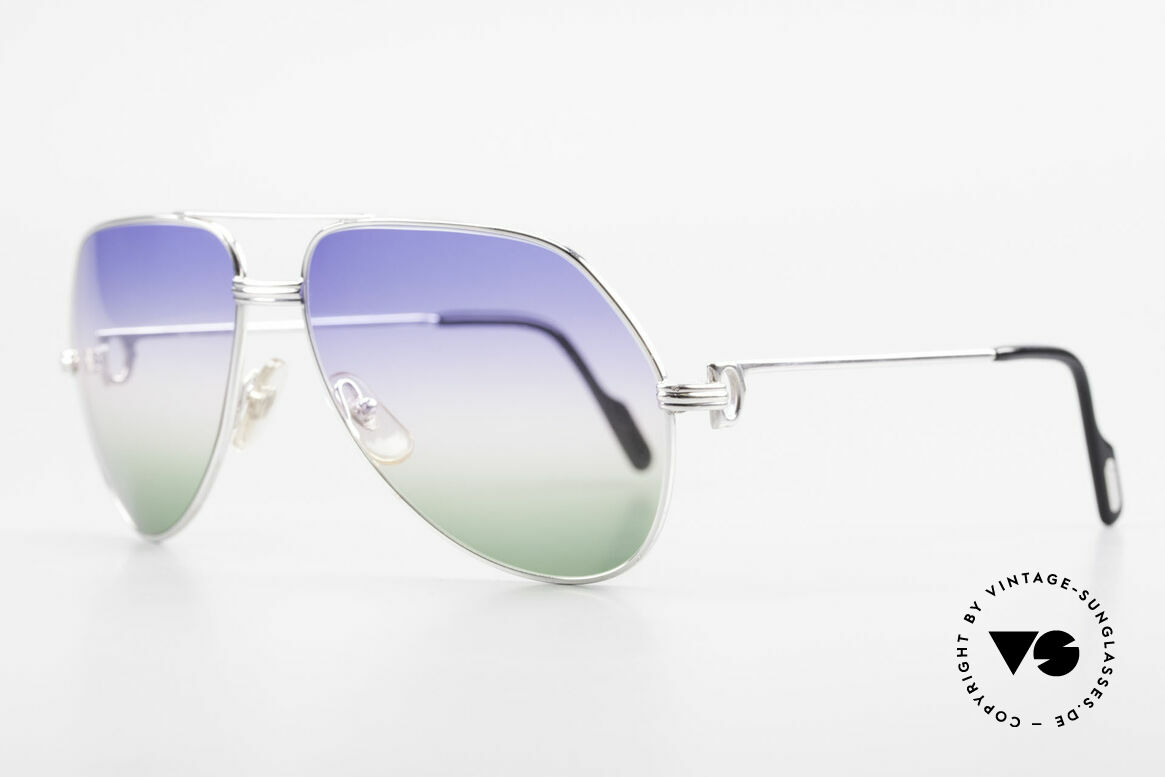 Cartier Vendome LC - L One Of A Kind Customized, fully rhodanized (silvered) frame with tricolored lenses, Made for Men
