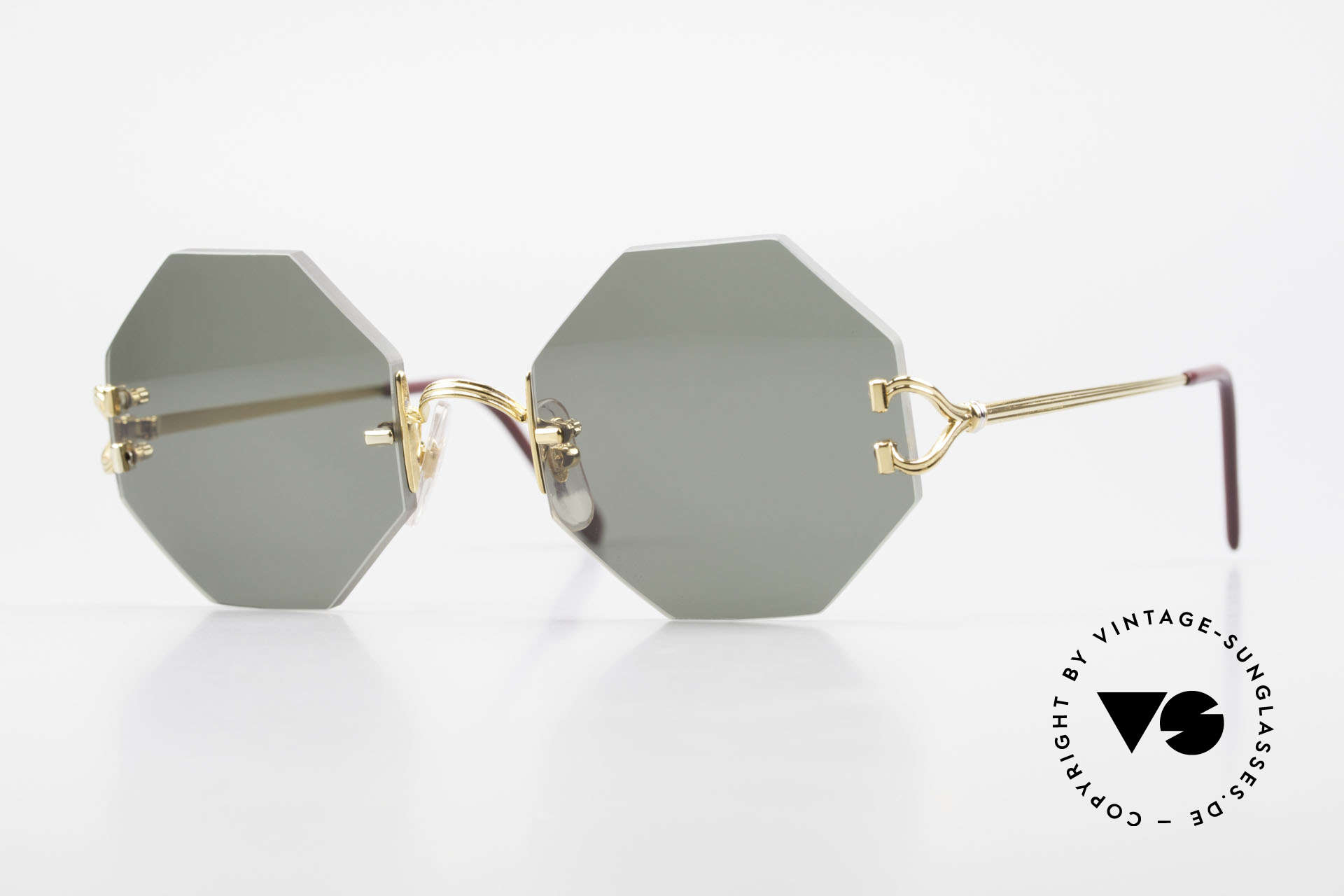 Cartier Rimless Octag Rimless Octagonal Sunglasses, octagonal rimless CARTIER luxury shades from '99, Made for Men and Women
