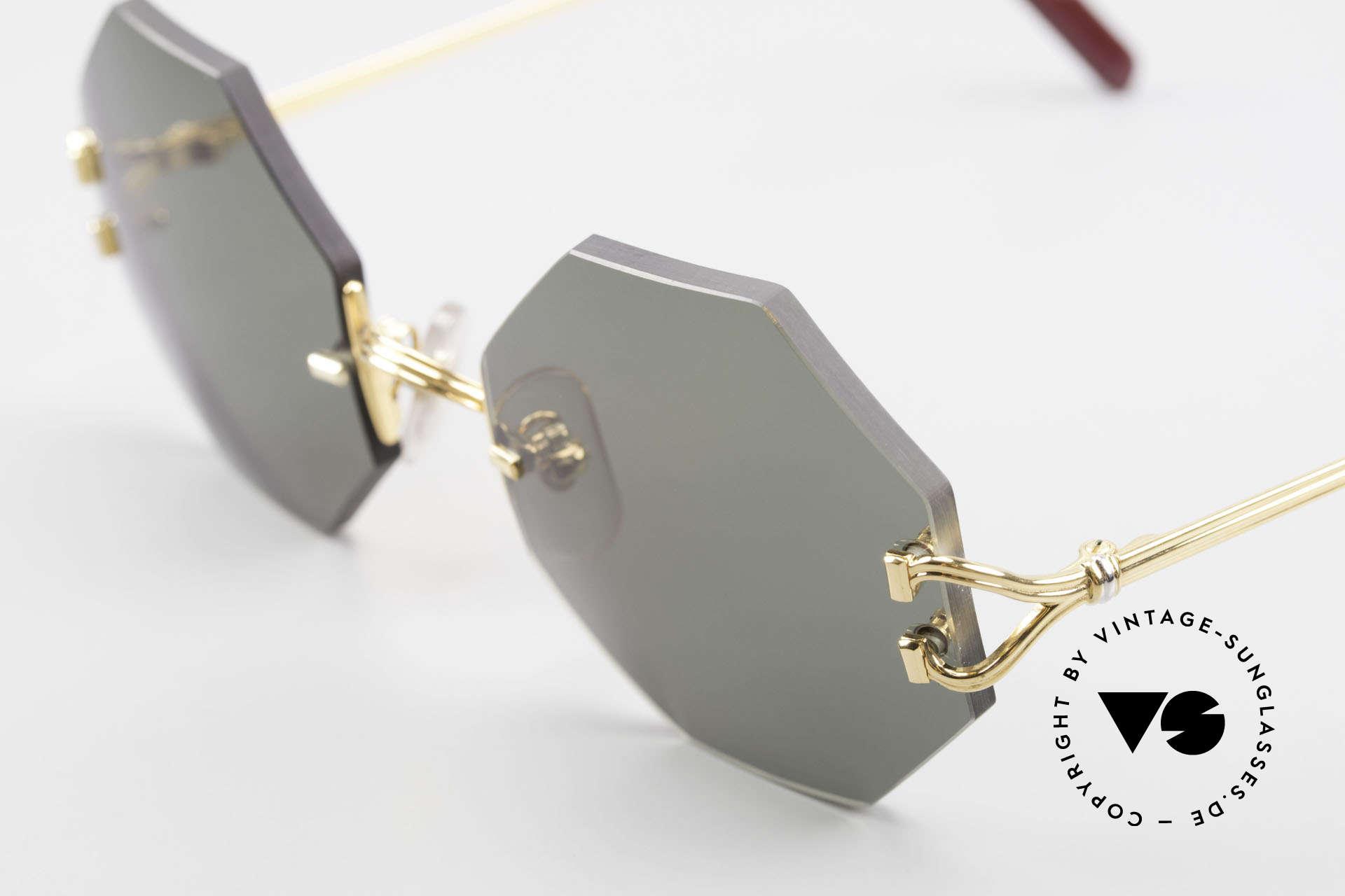 Cartier Rimless Octag Rimless Octagonal Sunglasses, precious OCTAG designer shades; 22kt GOLD-plated, Made for Men and Women