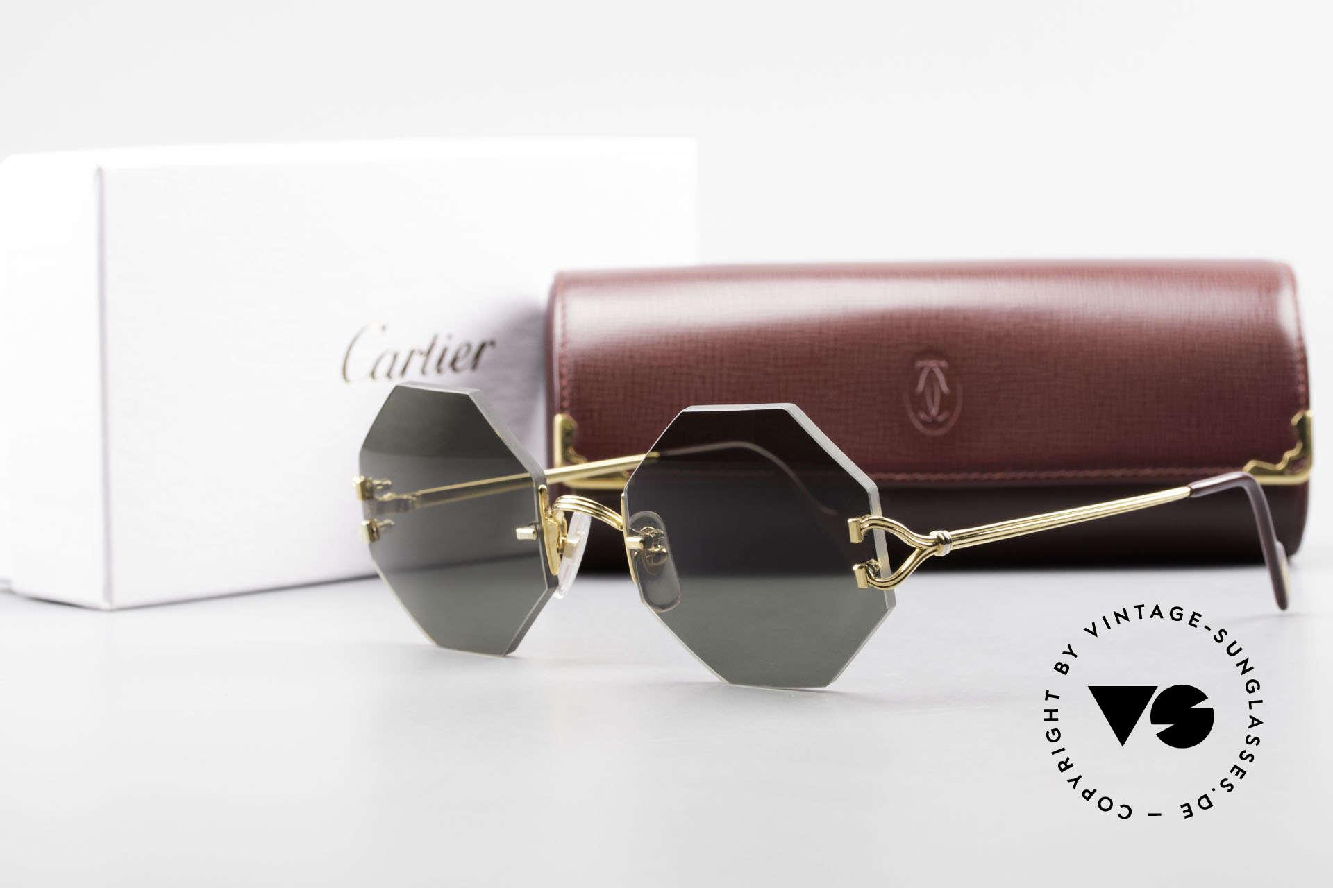 Cartier Rimless Octag Rimless Octagonal Sunglasses, NO RETRO, but a RARE old ORIGINAL, one of a kind!, Made for Men and Women