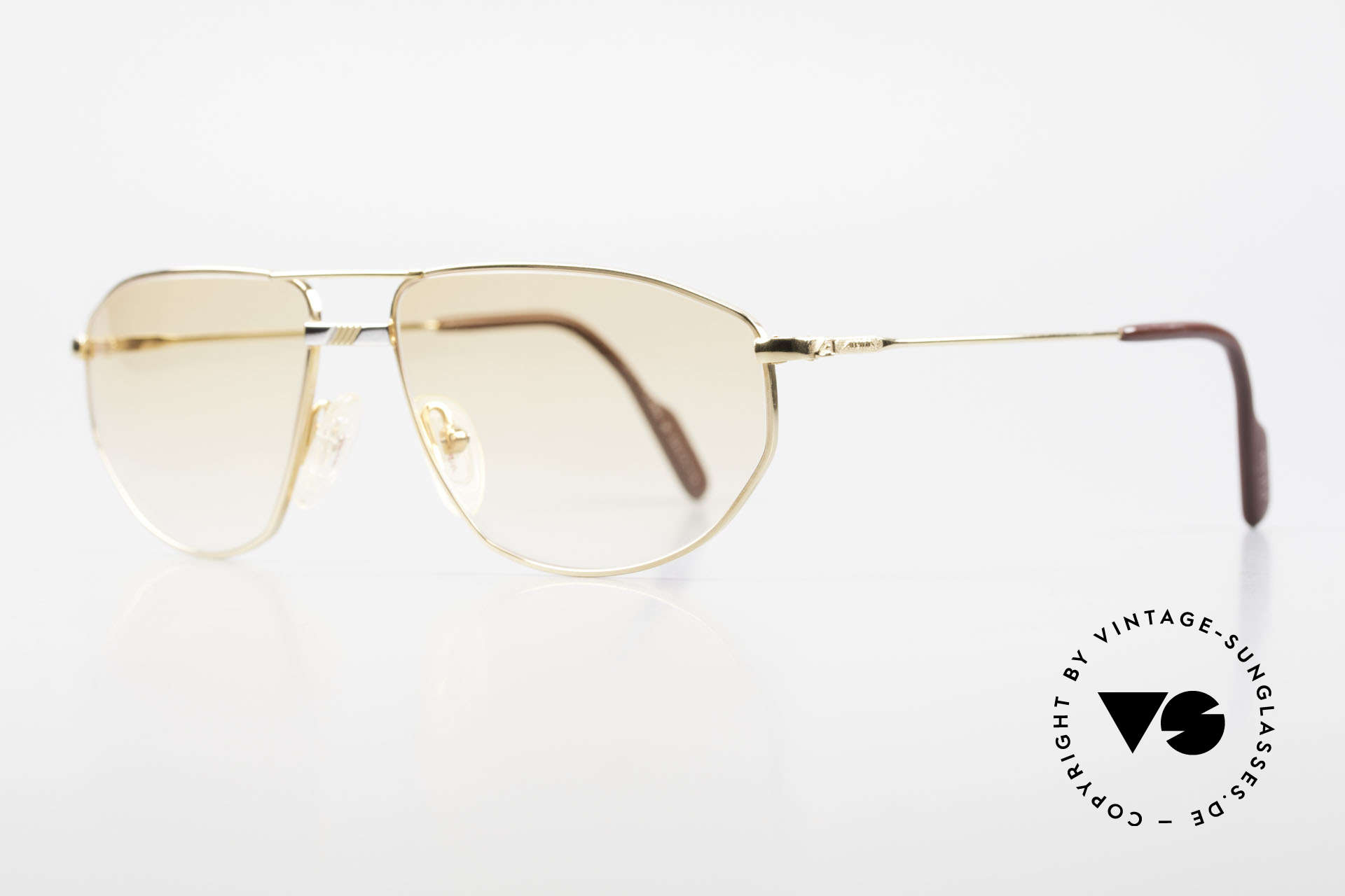 Alpina FM41 Stylish Vintage 80's Sunglasses, gold-plated metal frame with a silver-plated bridge, Made for Men and Women