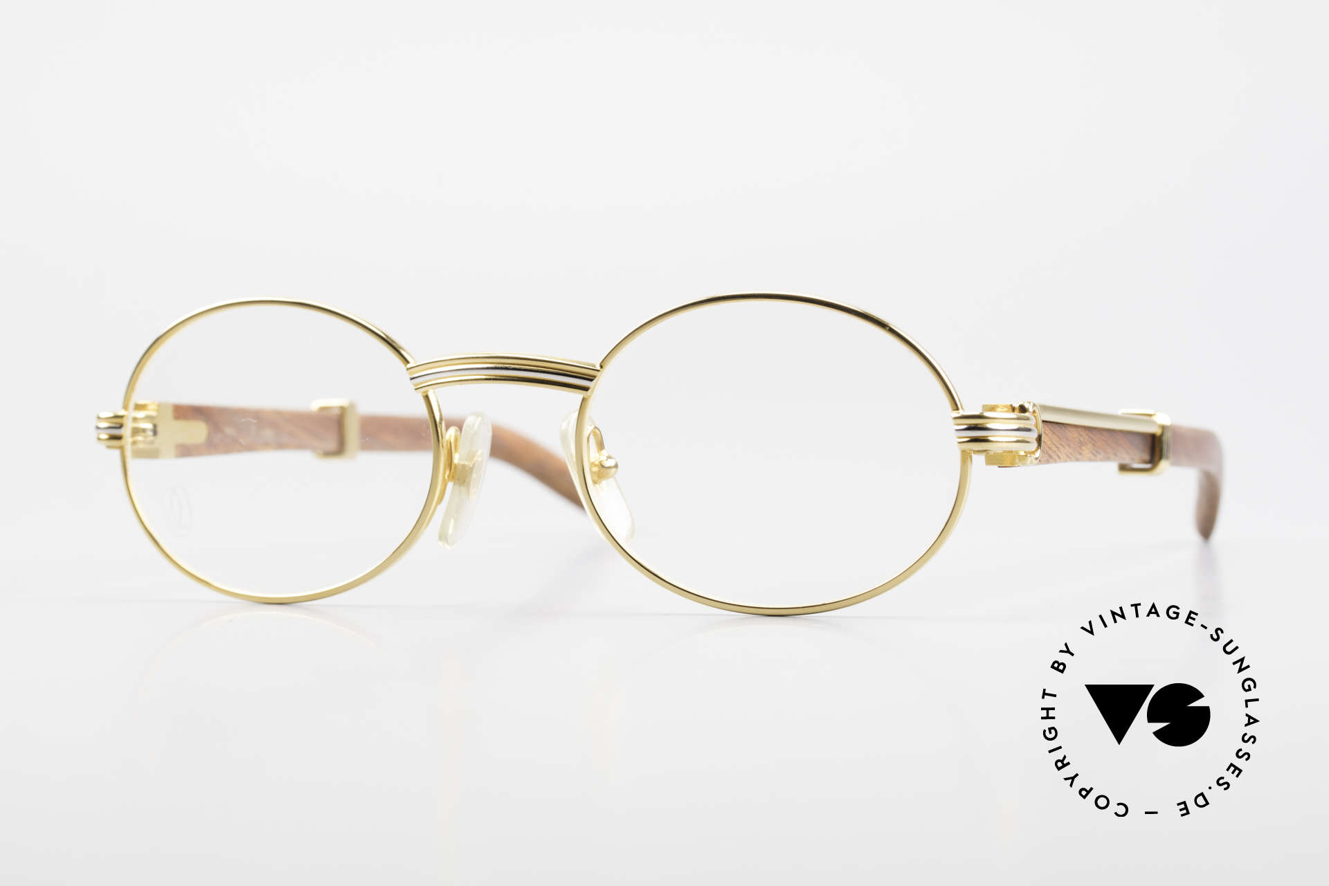 Cartier Giverny Oval Wood Glasses Gold Plated, precious oval CARTIER vintage sunglasses from 1990, Made for Men and Women