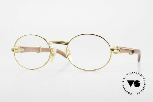 Cartier Giverny Oval Wood Glasses Gold Plated Details