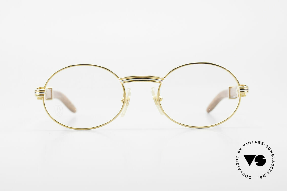 Cartier Giverny Oval Wood Glasses Gold Plated, made of African Bubinga Wood, in SMALL size 49°20, Made for Men and Women