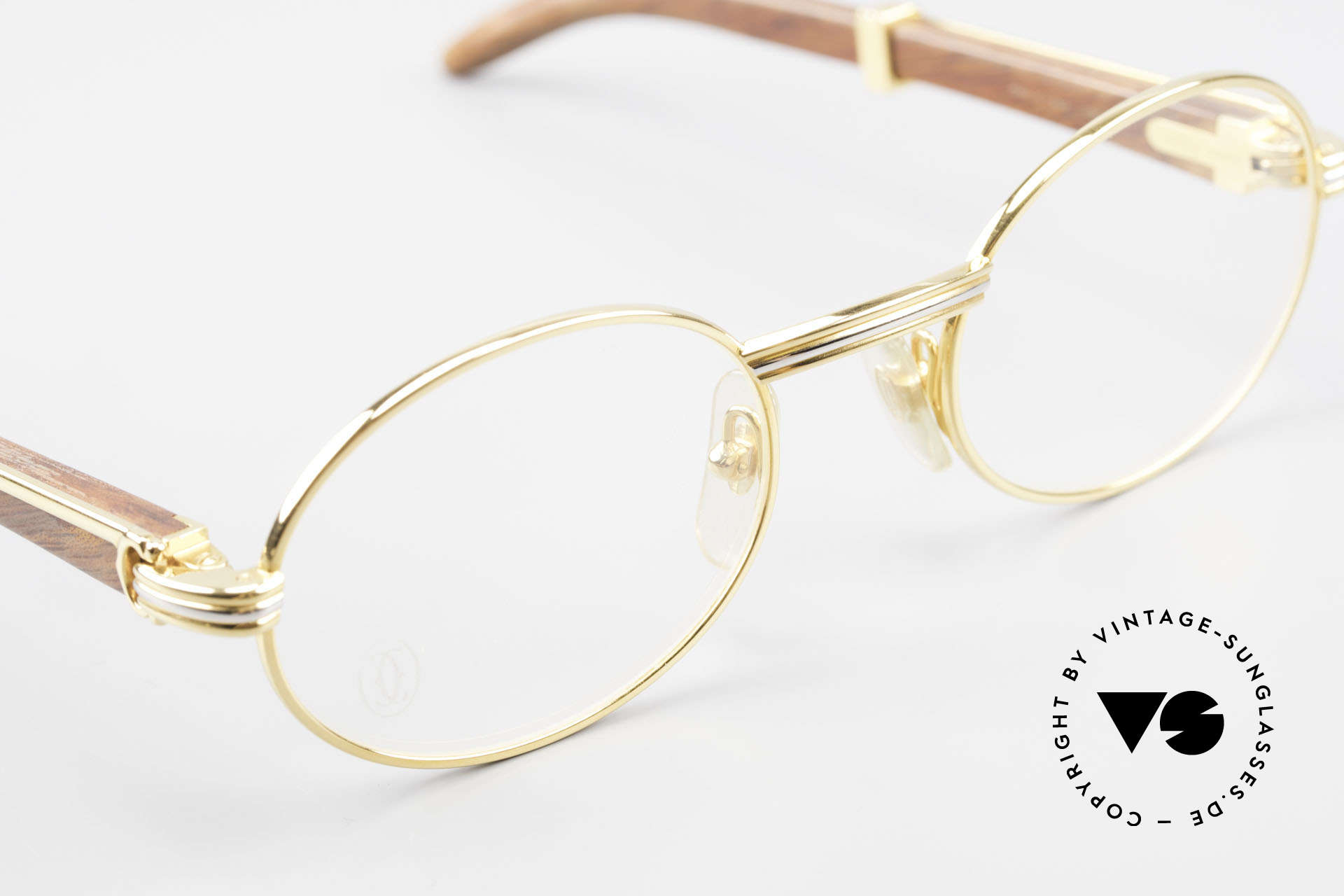 Cartier Giverny Oval Wood Glasses Gold Plated, WE DO NOT ACCEPT CREDIT CARDS for this model!, Made for Men and Women