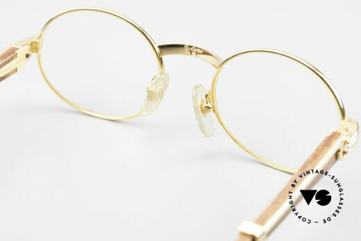 Cartier Giverny Oval Wood Glasses Gold Plated, Size: small, Made for Men and Women