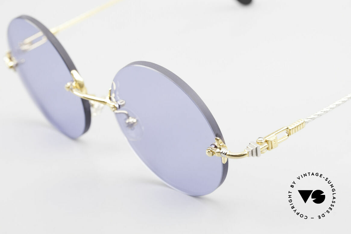 Fred Fidji Rimless Round Luxury Shades, temples are twisted like a hawser; sailor's MUST HAVE!, Made for Men
